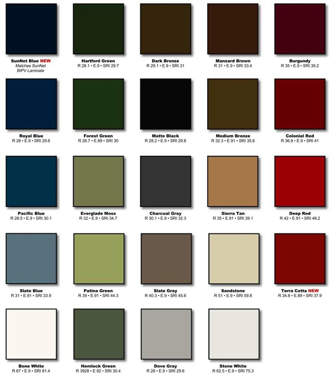 Color Options Metal Roofing Ma Me Nh
